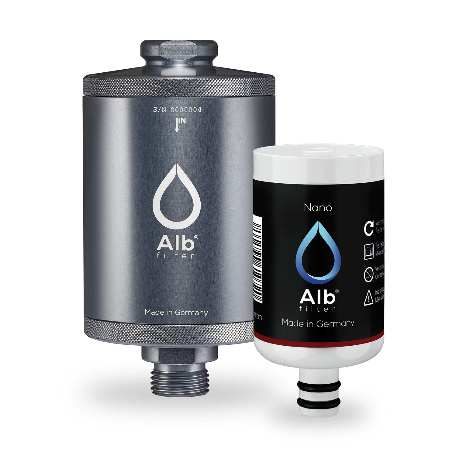 Alb Legionella filter for undertable. Robust filter housing in titanium with nano filter cartridge
