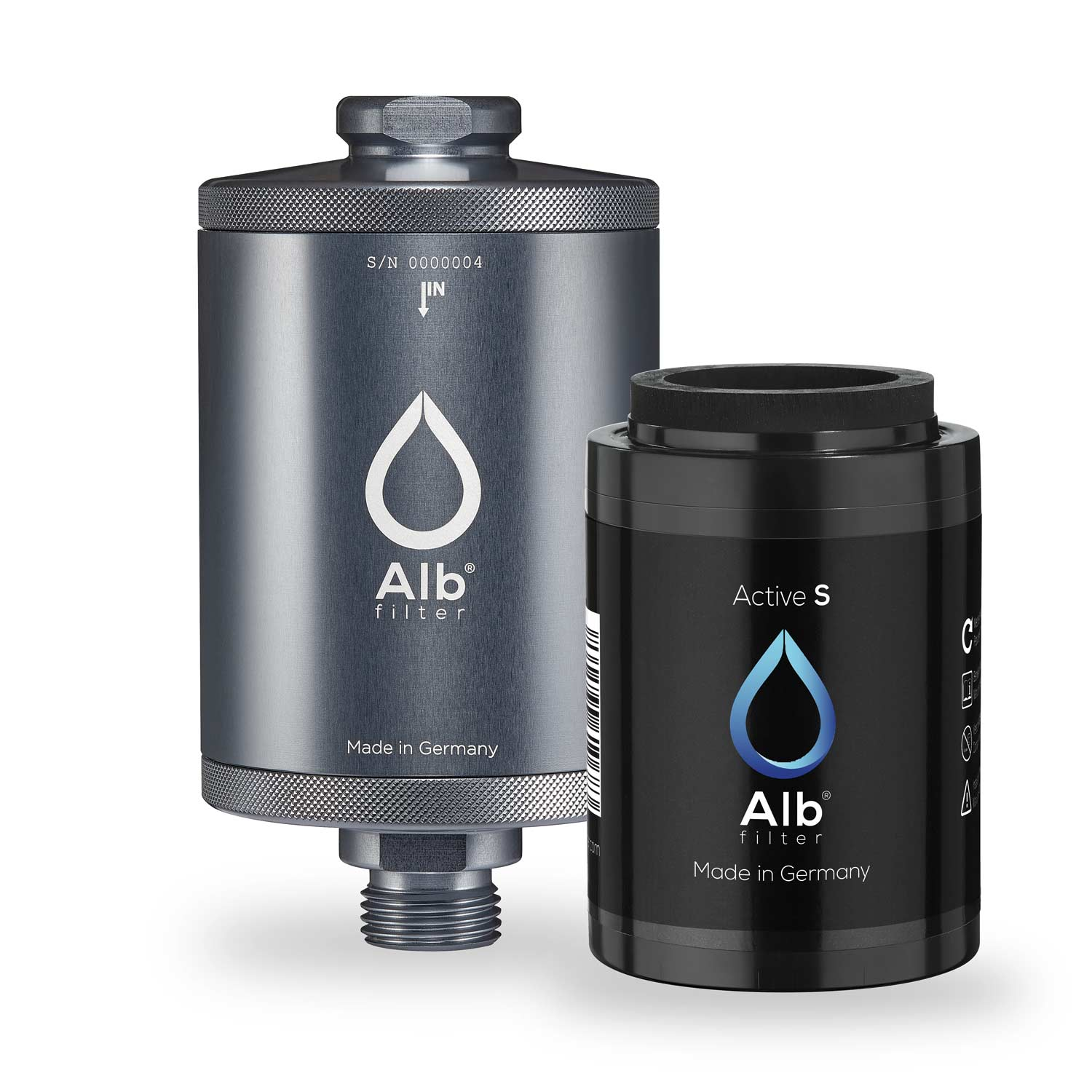 Alb water filter for undertable. Metal filter housing in titanium colour with Active-S filter cartridge
