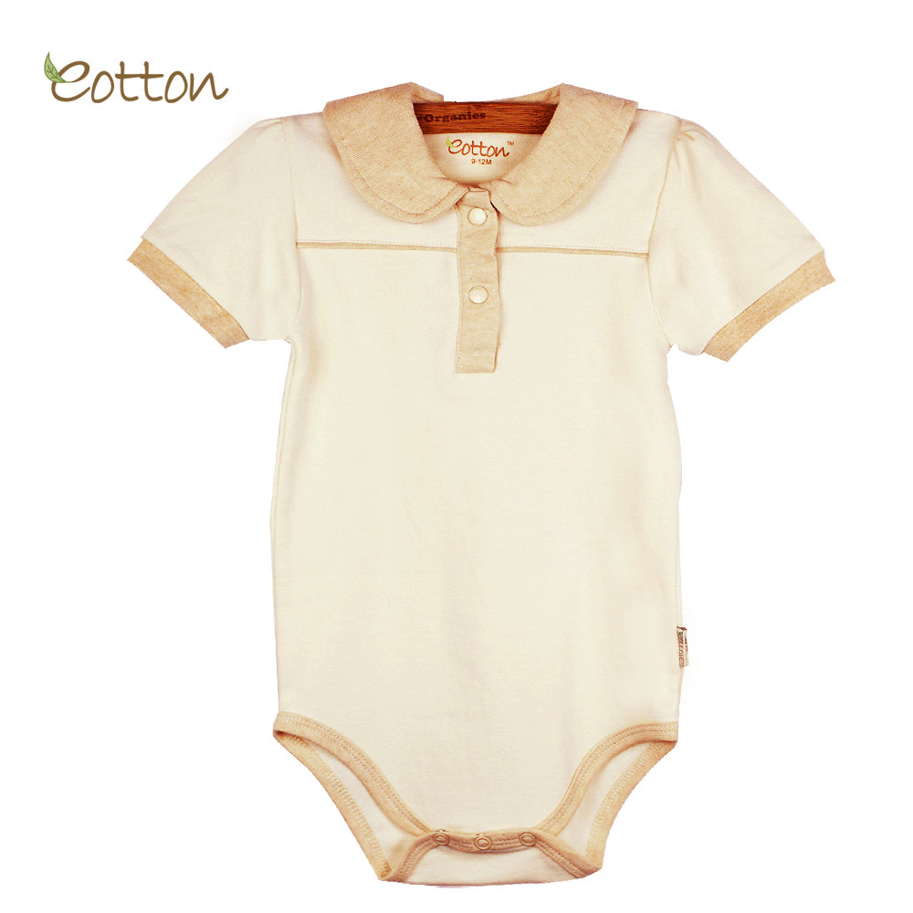 Organic Short Sleeve Baby Bodysuit with Peter Pan Collar.
