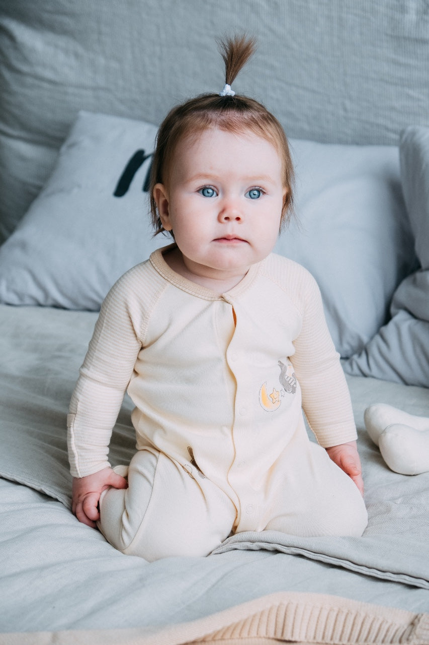 Organic Long Sleeve Sleepsuit with Bear and Stars