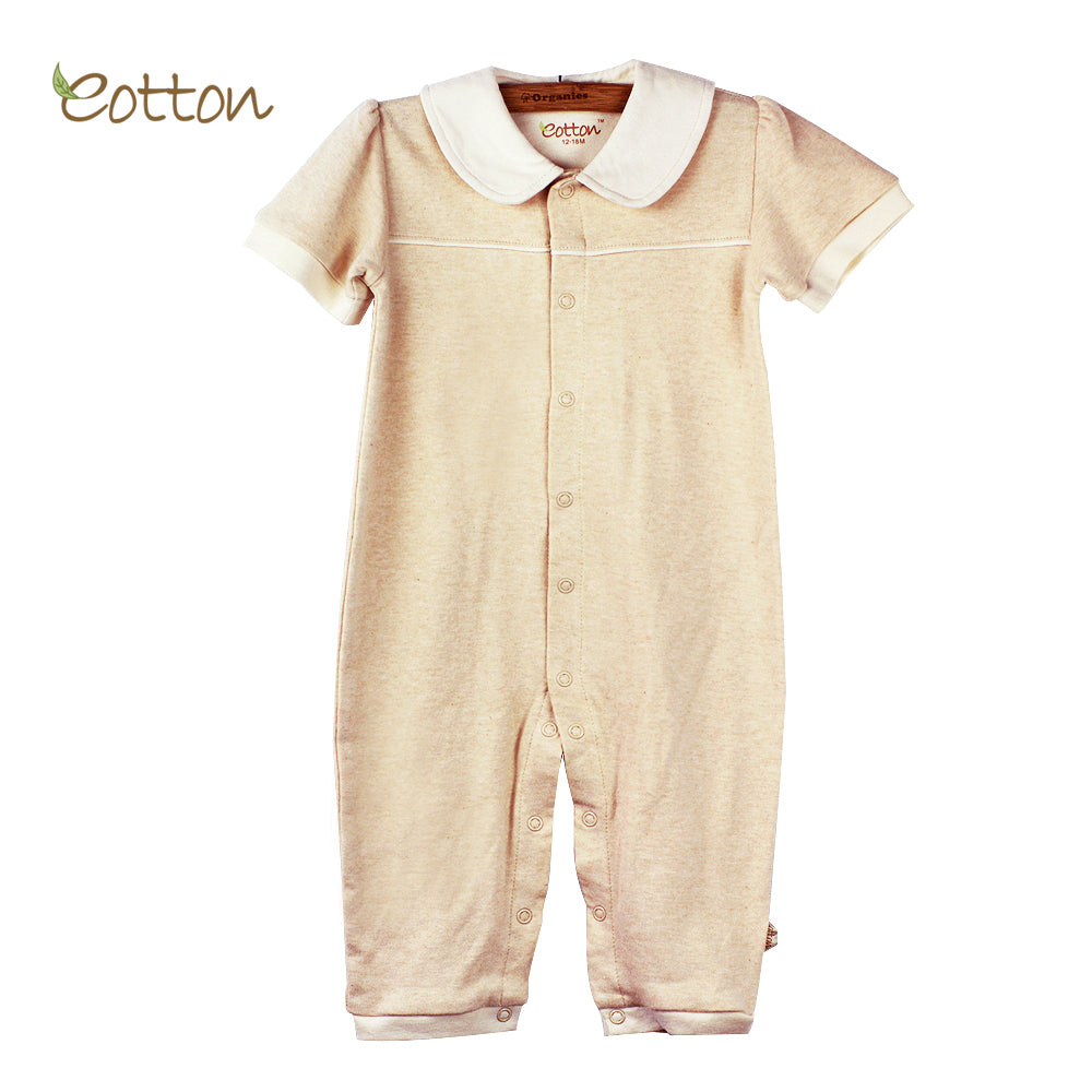 Organic Short Sleeve Baby Girl Romper with Peter Pan Collar