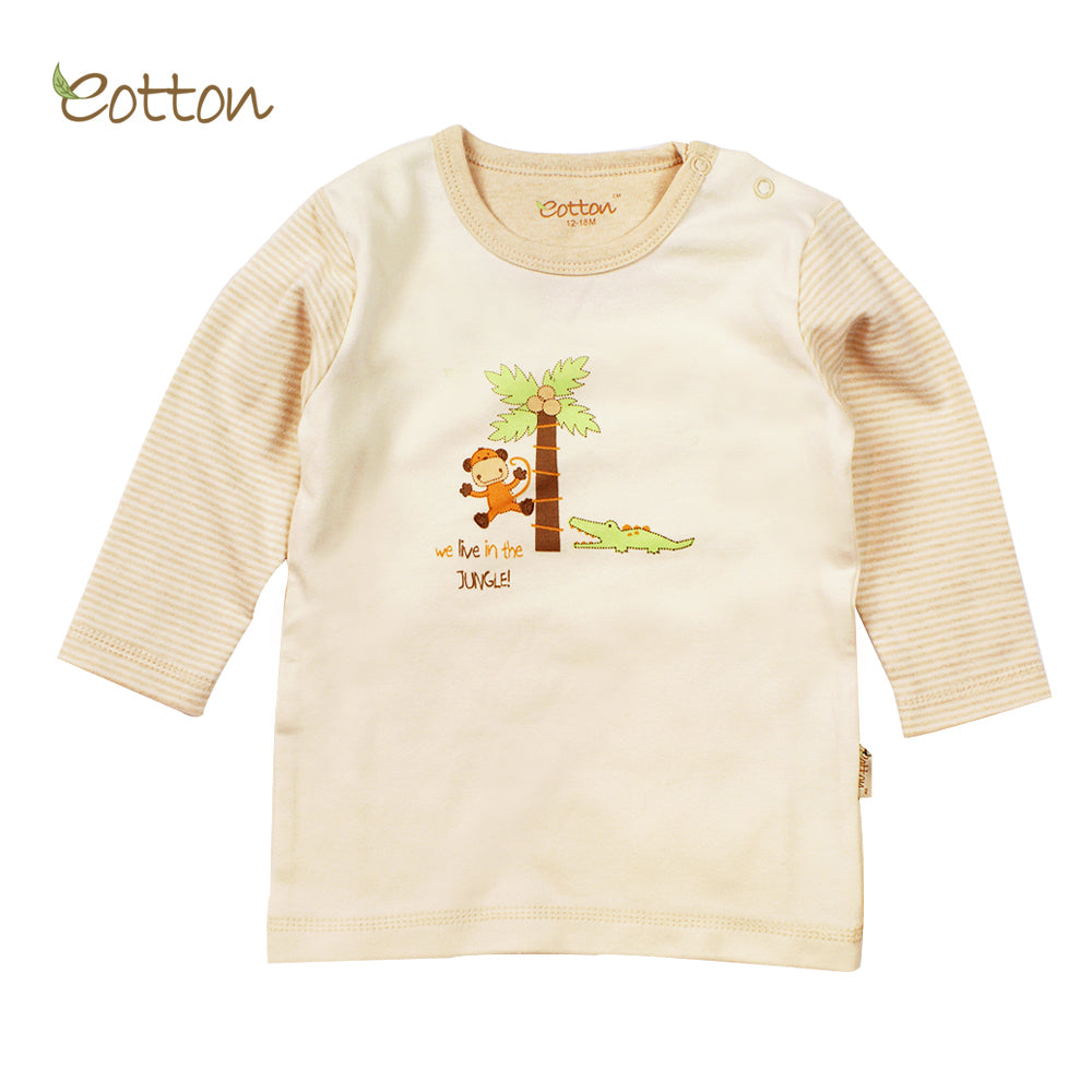 Organic Long Sleeve T-shirt with a Monkey