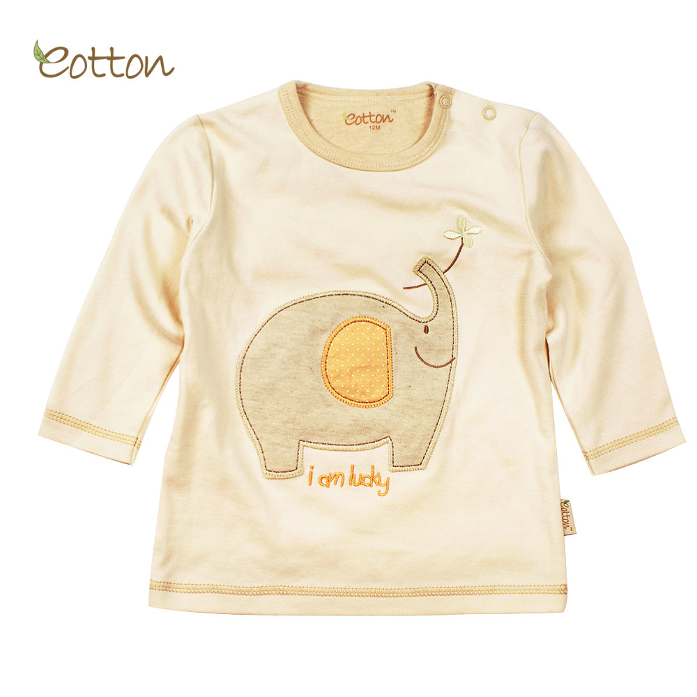 Organic Long Sleeve T-shirt with an Elephant