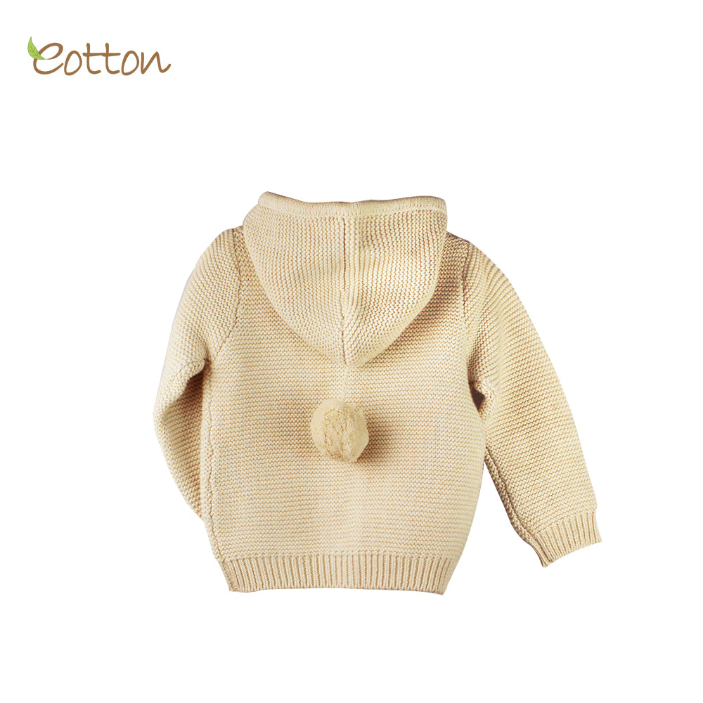 Organic Knitted Hooded Cardigan
