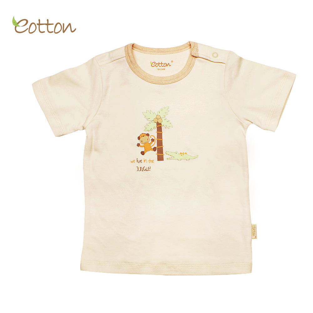 Organic Short Sleeve T-shirt with a Monkey