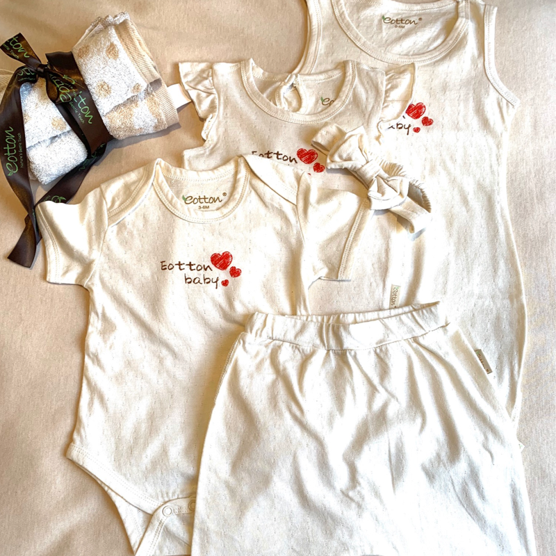 Organic Cotton Love Baby Girl Summer Newborn Gift Set