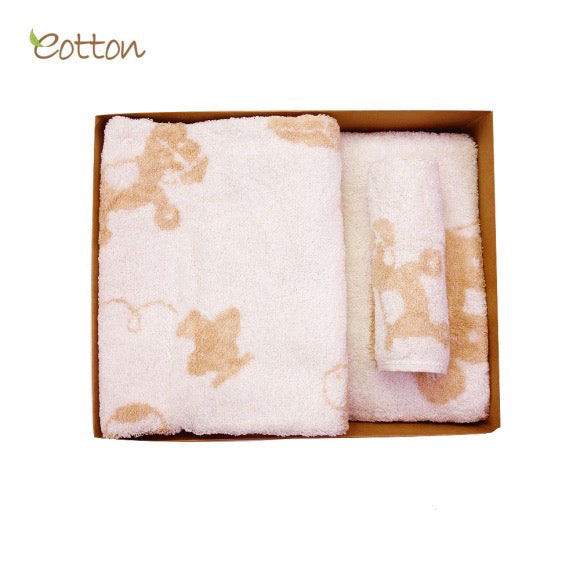 Organic Cotton Baby Bath Towel Set with Toys Pattern.