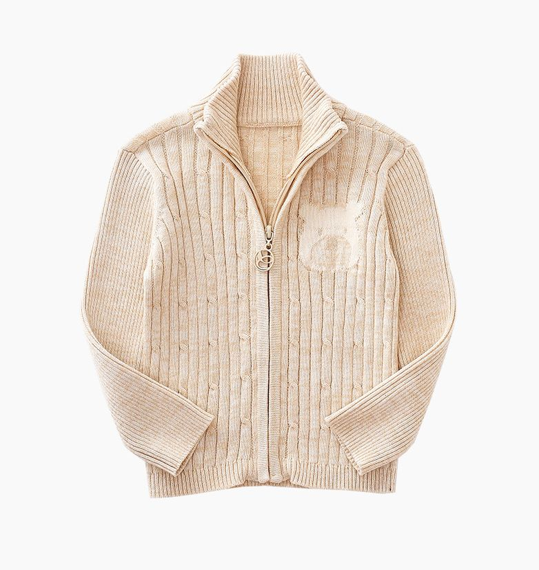 Organic Knitted Zip Through Jumper