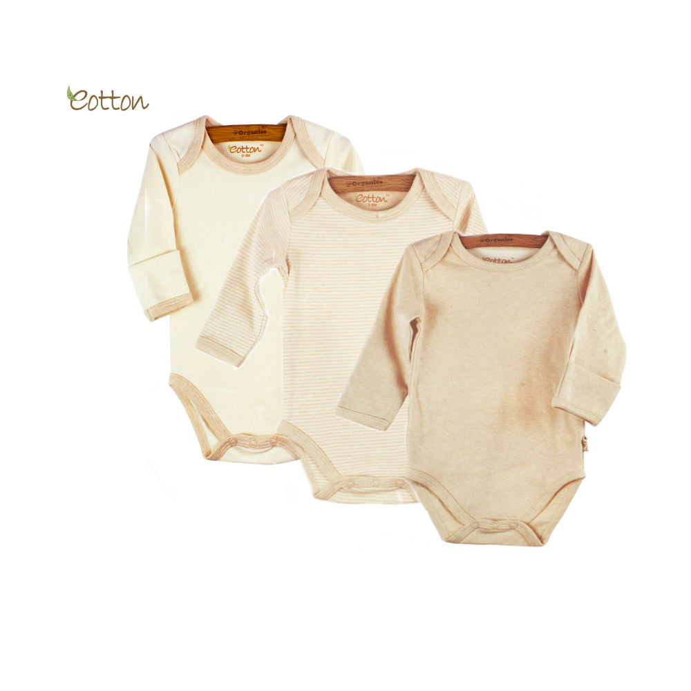 3-Pack Organic Long Sleeve Bodysuit with Envelop Neck