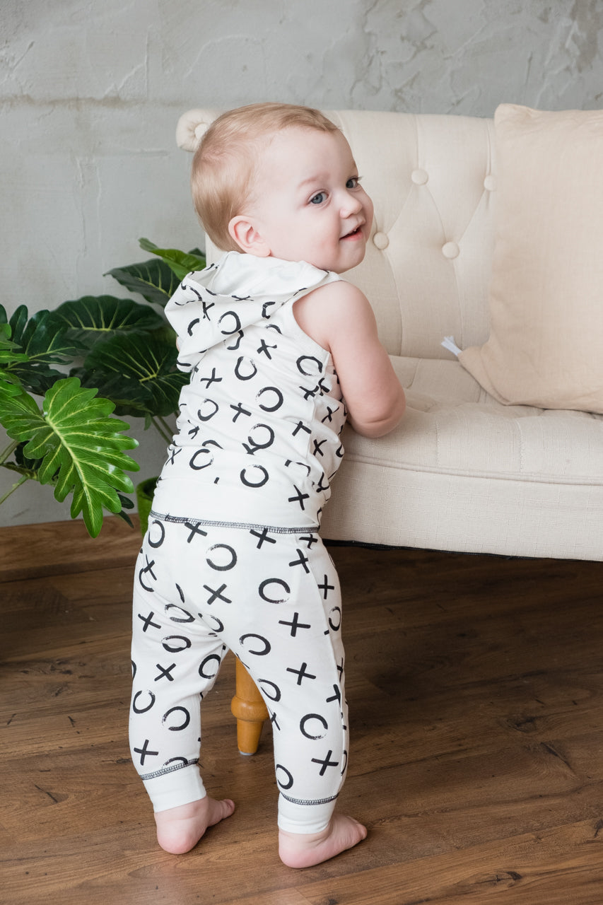 Organic Black and White Two Piece Baby Playsuit