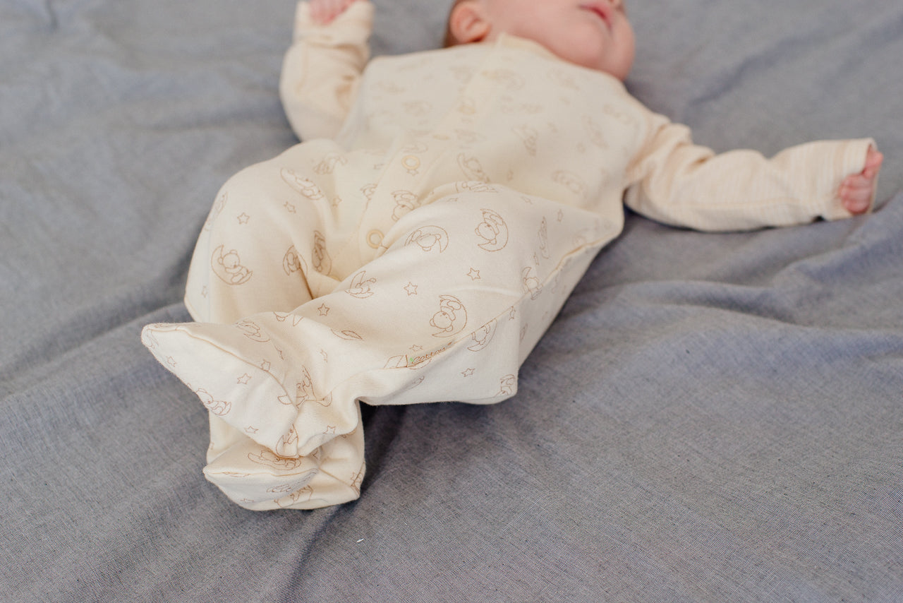Organic Long Sleeve Sleepsuit with Moon Pattern
