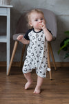 Organic Black and White Short Sleeve Baby Romper