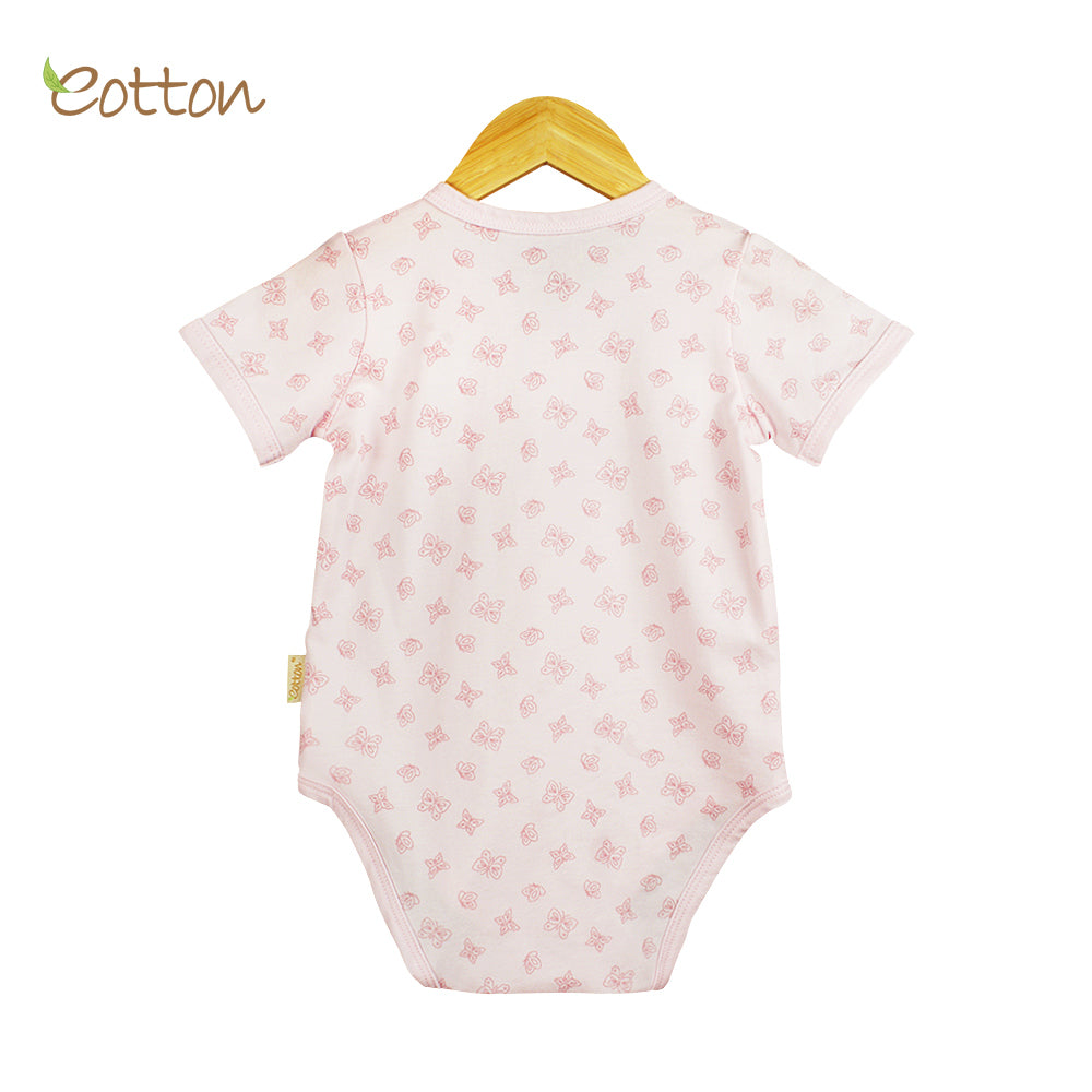 Organic Full Open Baby Pale Pink Bodysuit with Butterflies