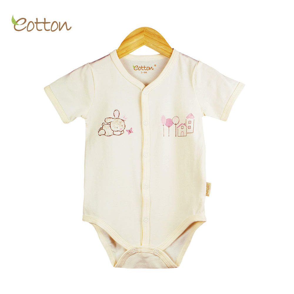 Organic Full Open  Baby Bunny Cream Bodysuit