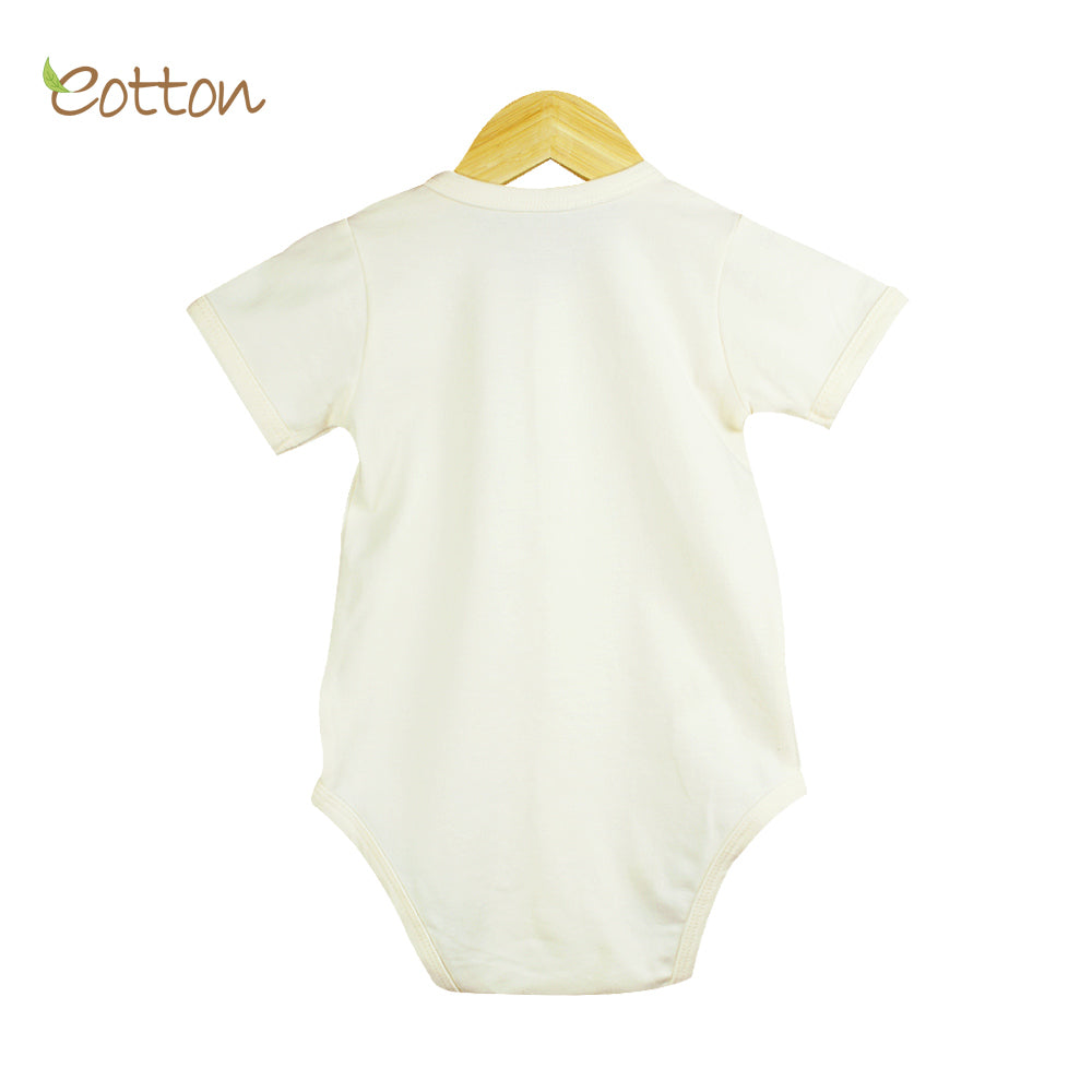 Organic Full Open Baby Summer Cream Bodysuit