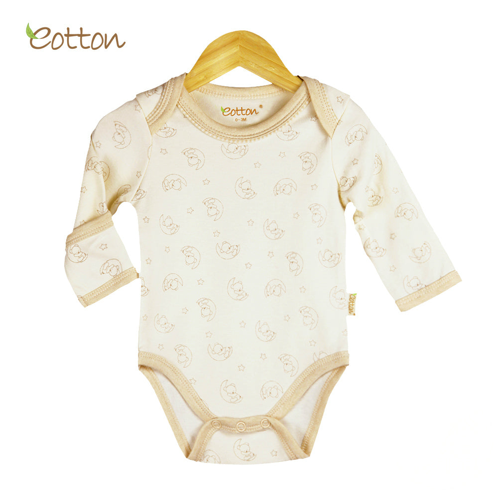 Organic Long Sleeve Bodysuit with Moon Pattern