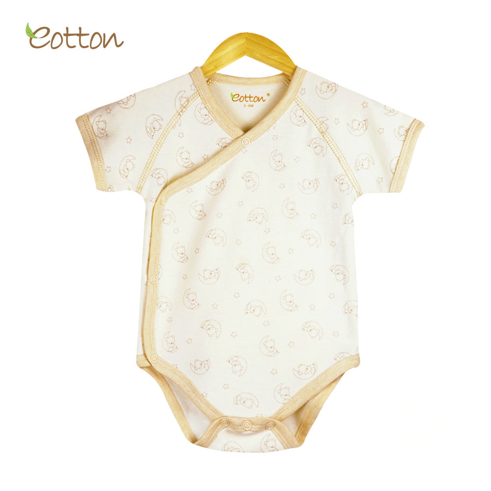 Organic Short Sleeve Kimono Bodysuit with Moon Pattern.