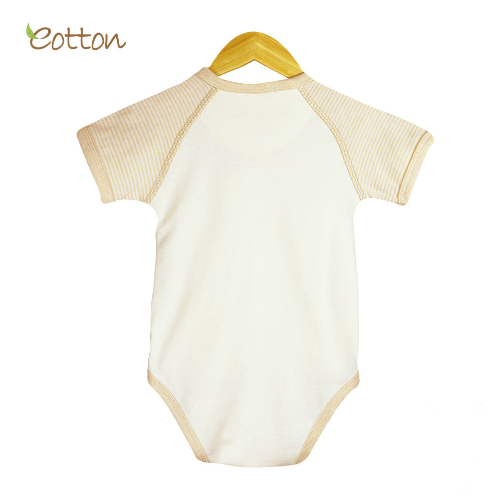 Organic Short Sleeve Kimono Bodysuit with Bear on the Moon.