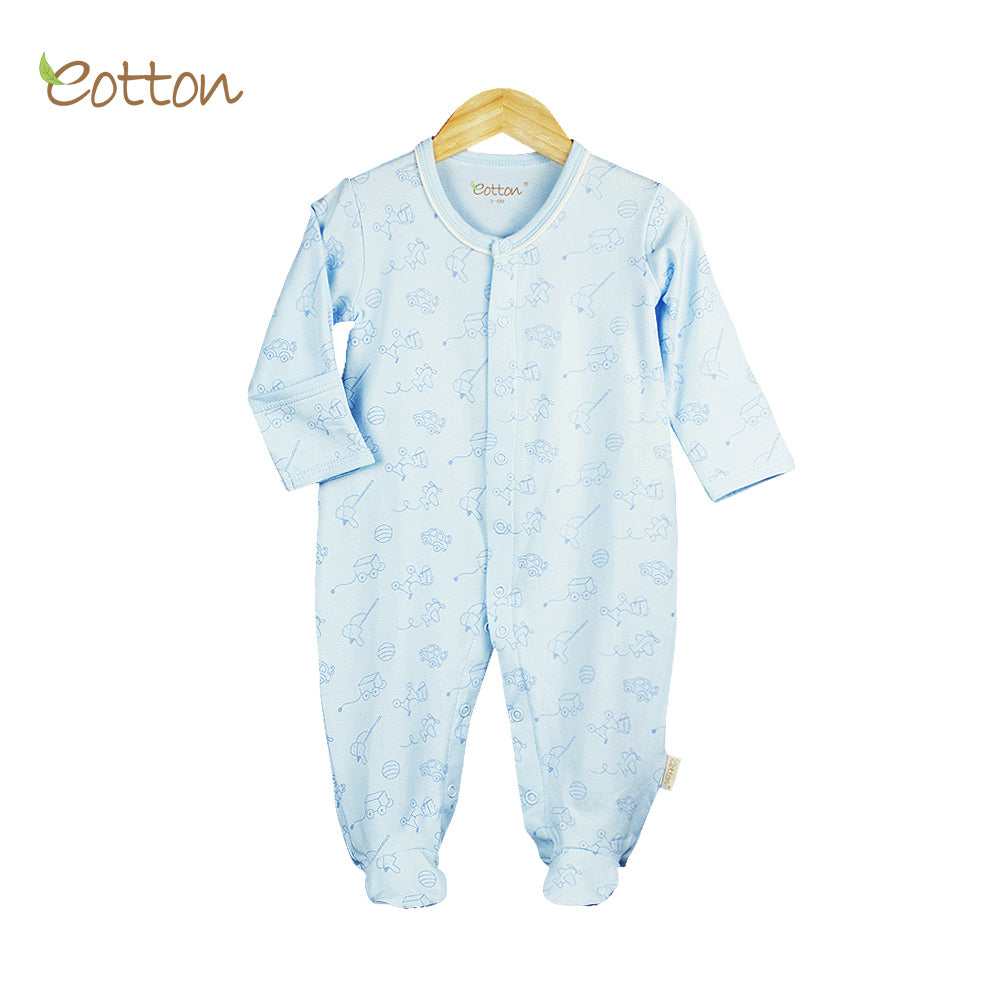 Organic Baby Blue Summer Long Sleeve Sleepsuit