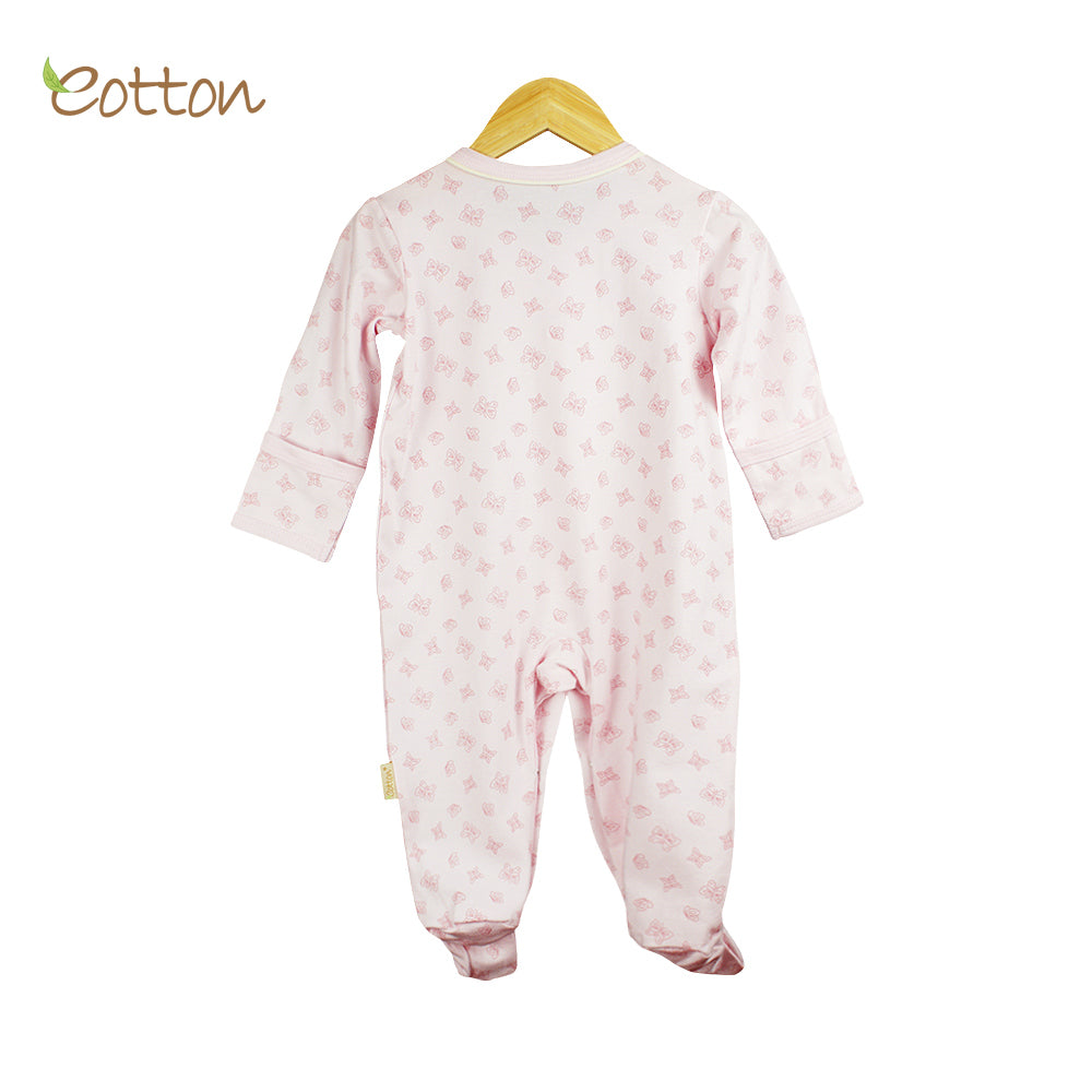 Organic Baby Pale Pink Sleepsuit with Butterflies