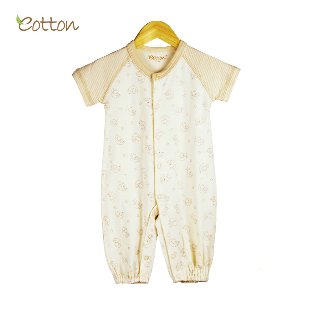 Organic Short Sleeve Sleepsuit with  Moon Pattern