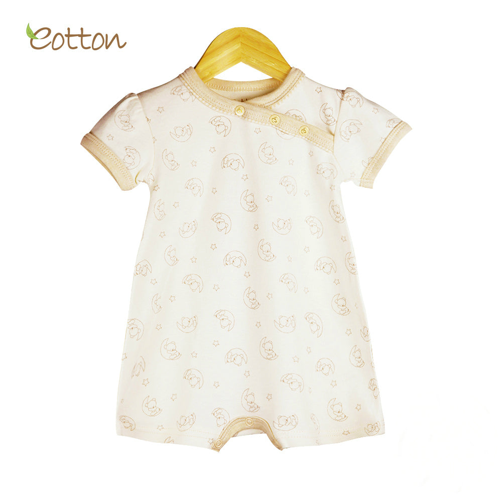 Organic Short Sleeve Romper with Moon Pattern
