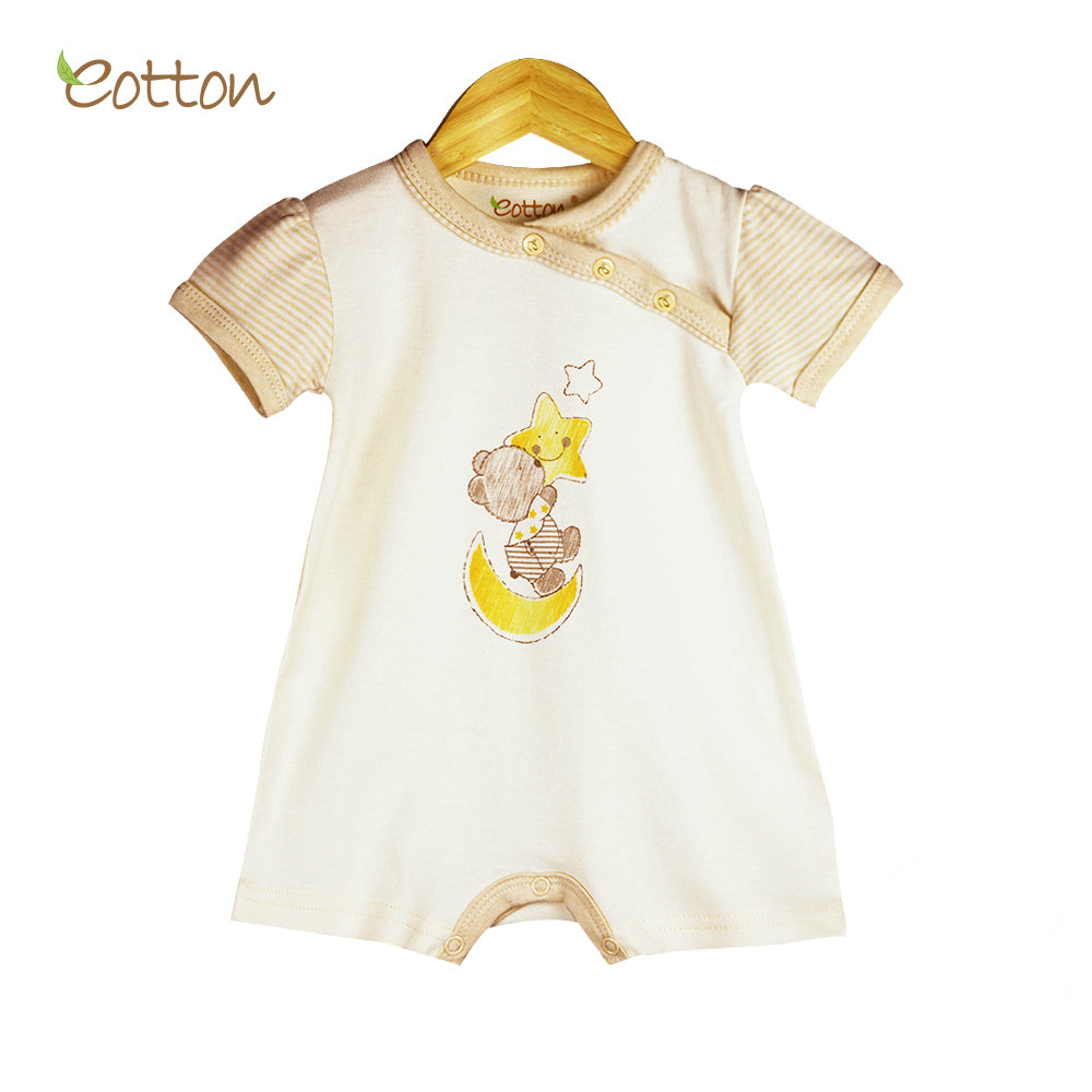 Organic Short Sleeve Romper with Bear on the Moon