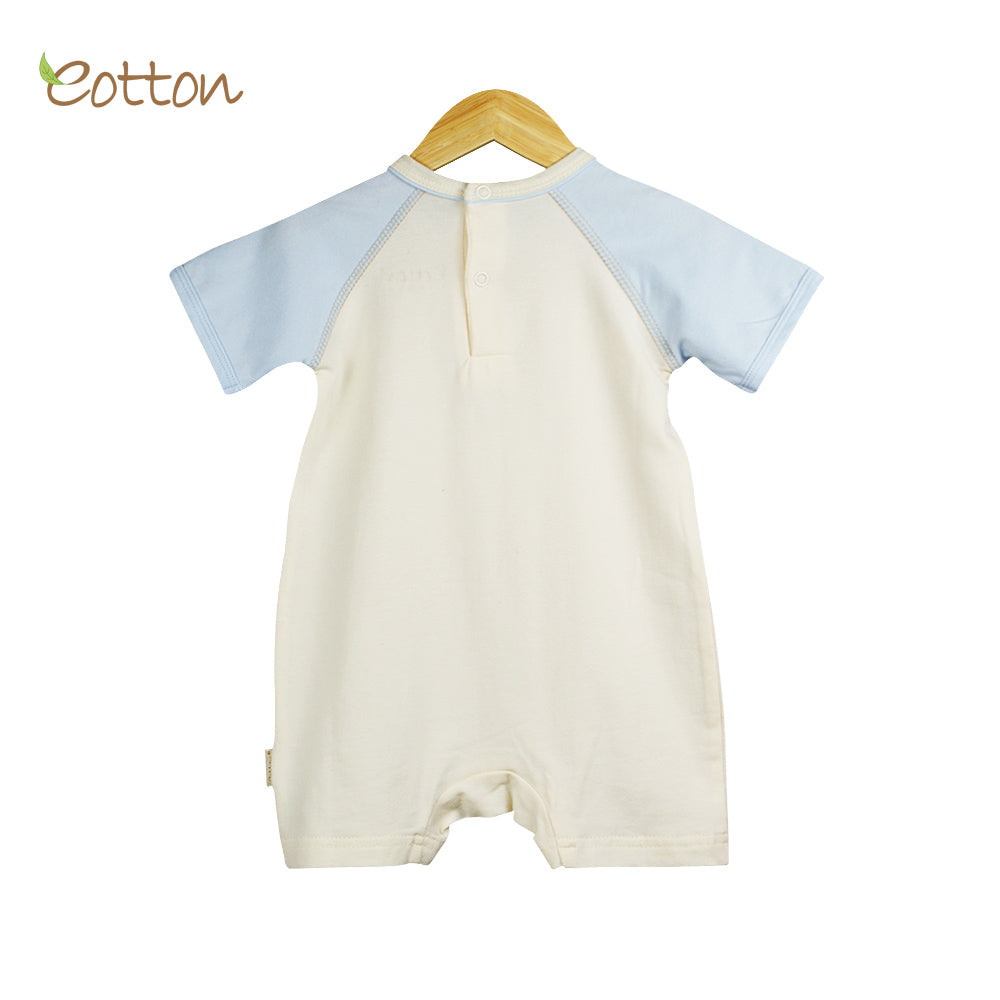 Organic Baby Cream and Blue Summer Romper