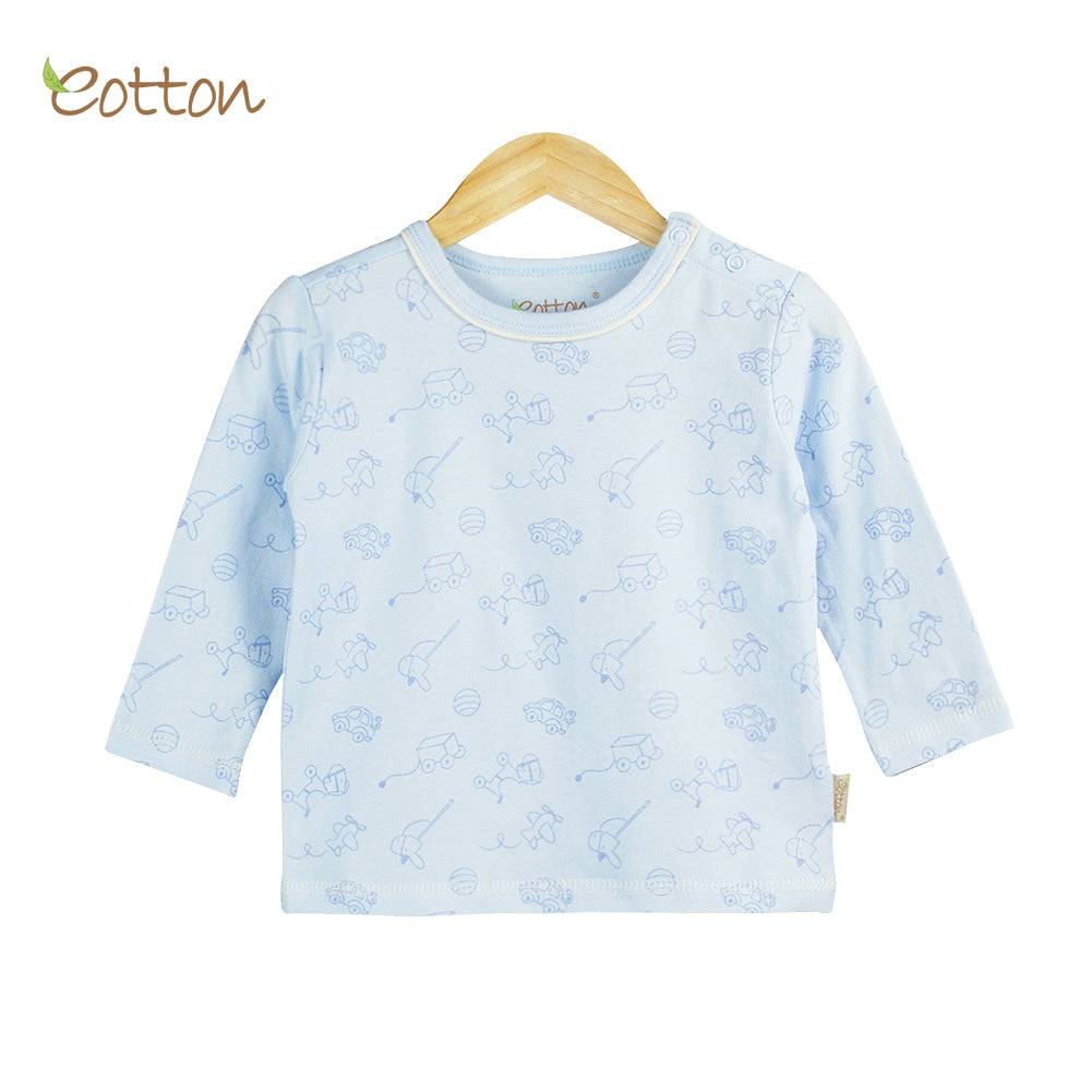 Organic Baby Blue Pyjama Top with Toys.