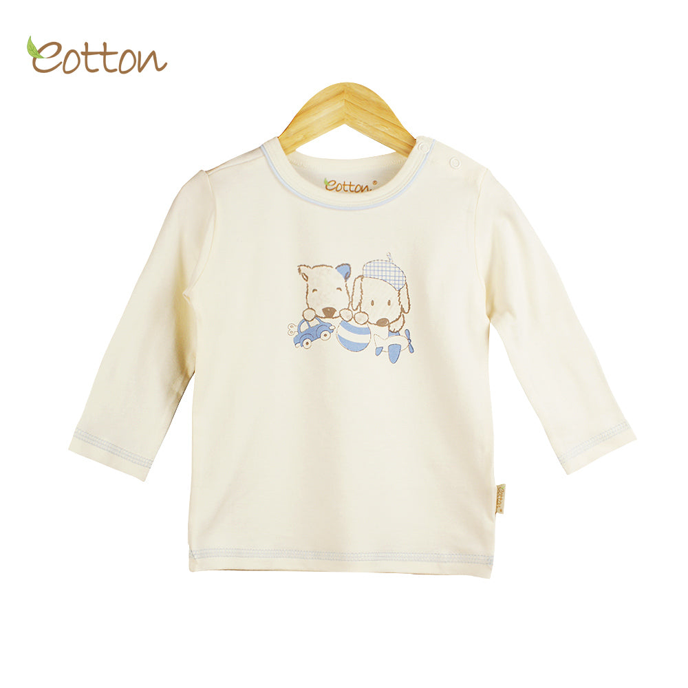 Organic Baby Cream Top with Dogs.