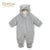 Organic Coral Fleece Bear Pramsuit. Grey.