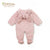 Organic Coral Fleece Bunny Snowsuit in Dusty Pink.