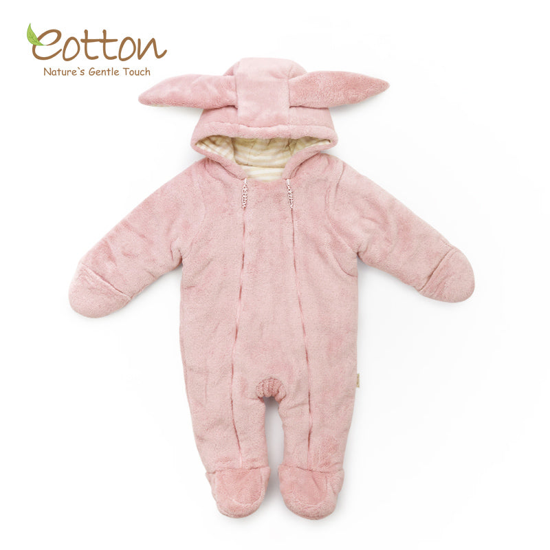 Organic Coral Fleece Overall Bunny Snowsuit. Pink.