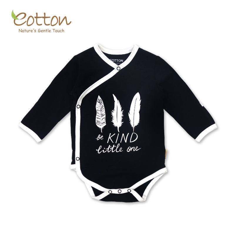 "Organic Long Sleeve Kimono Bodysuit "" Be Kind"""