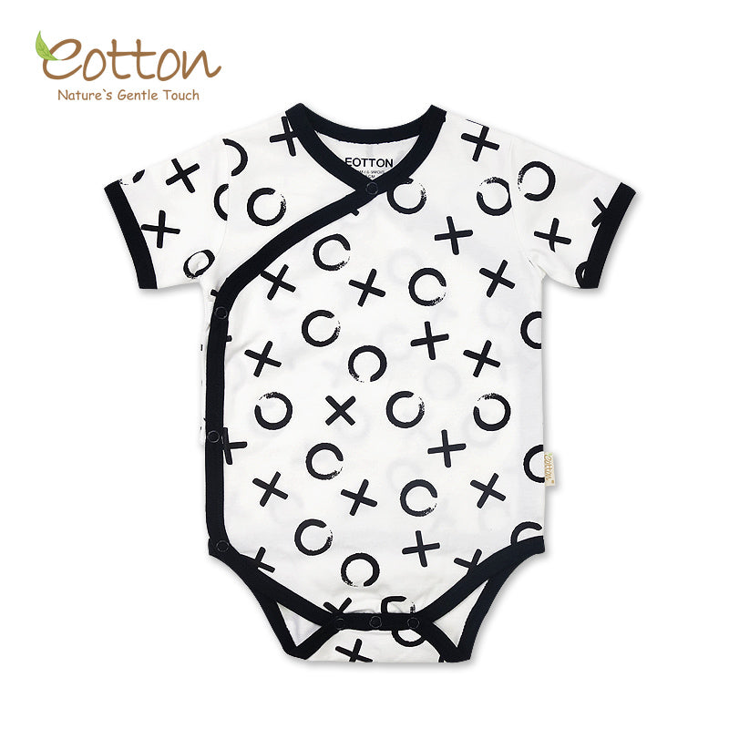 Organic Black and White Short Sleeve Patterned Baby Kimono