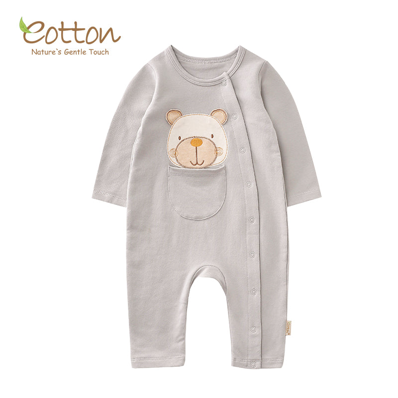 Organic Pale Grey Bear Romper