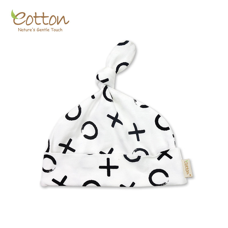 Organic Black and White Baby Hat with Knot Detail