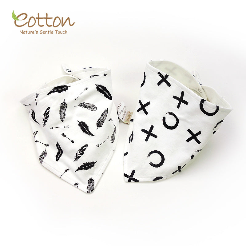 Organic Black and White Snap Closure Baby Bib