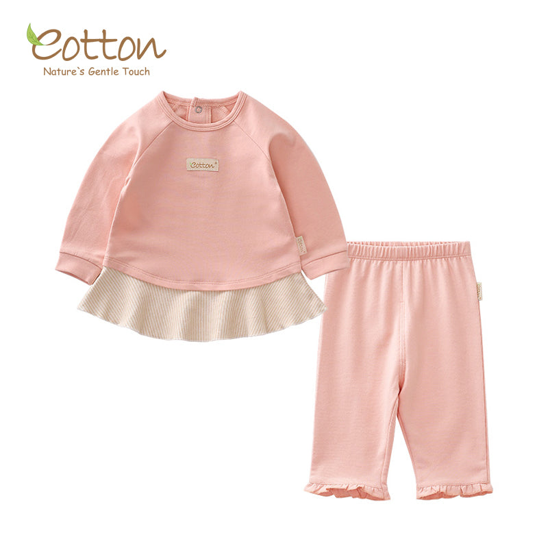 Organic Pale Pink Baby Girl Lounge Set