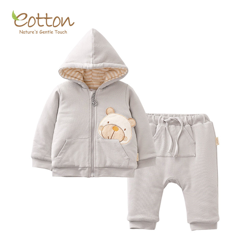 Organic Pale Grey 2-Piece Snowsuit.