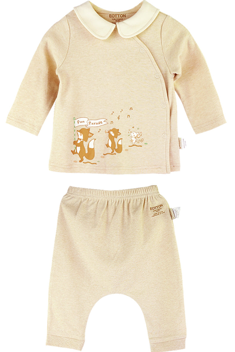 Organic Baby Girl  Playsuit with Little Foxes