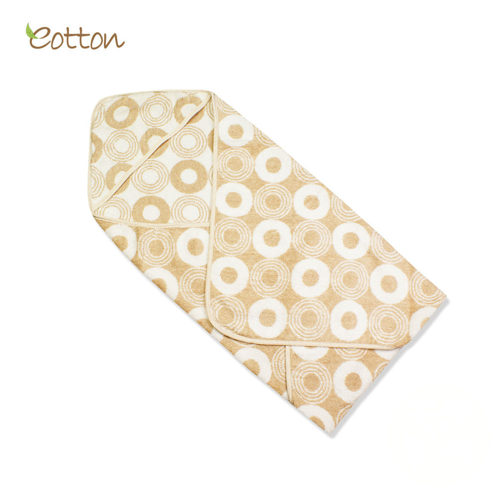Organic Cotton Terry Hooded Towel with Circle Pattern.