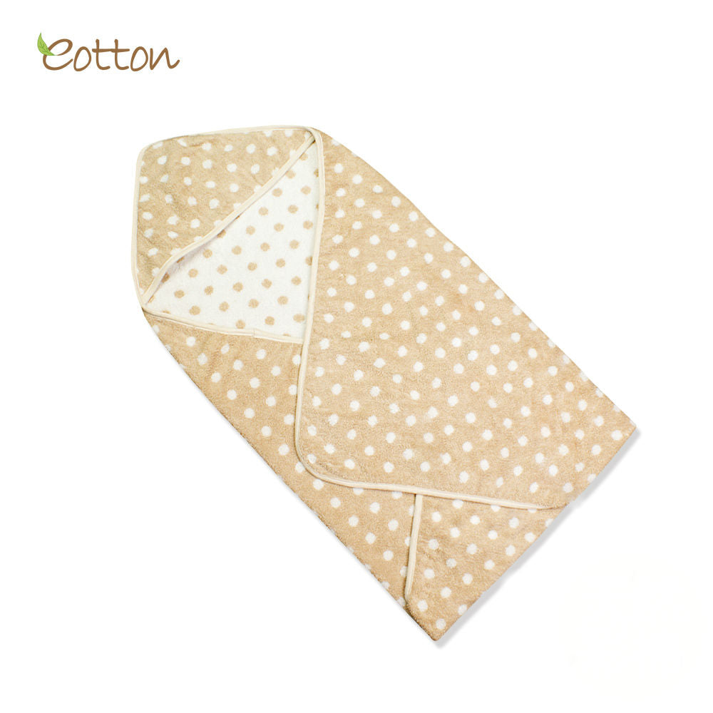 Organic Cotton Terry Hooded Towel with Polka Dots.