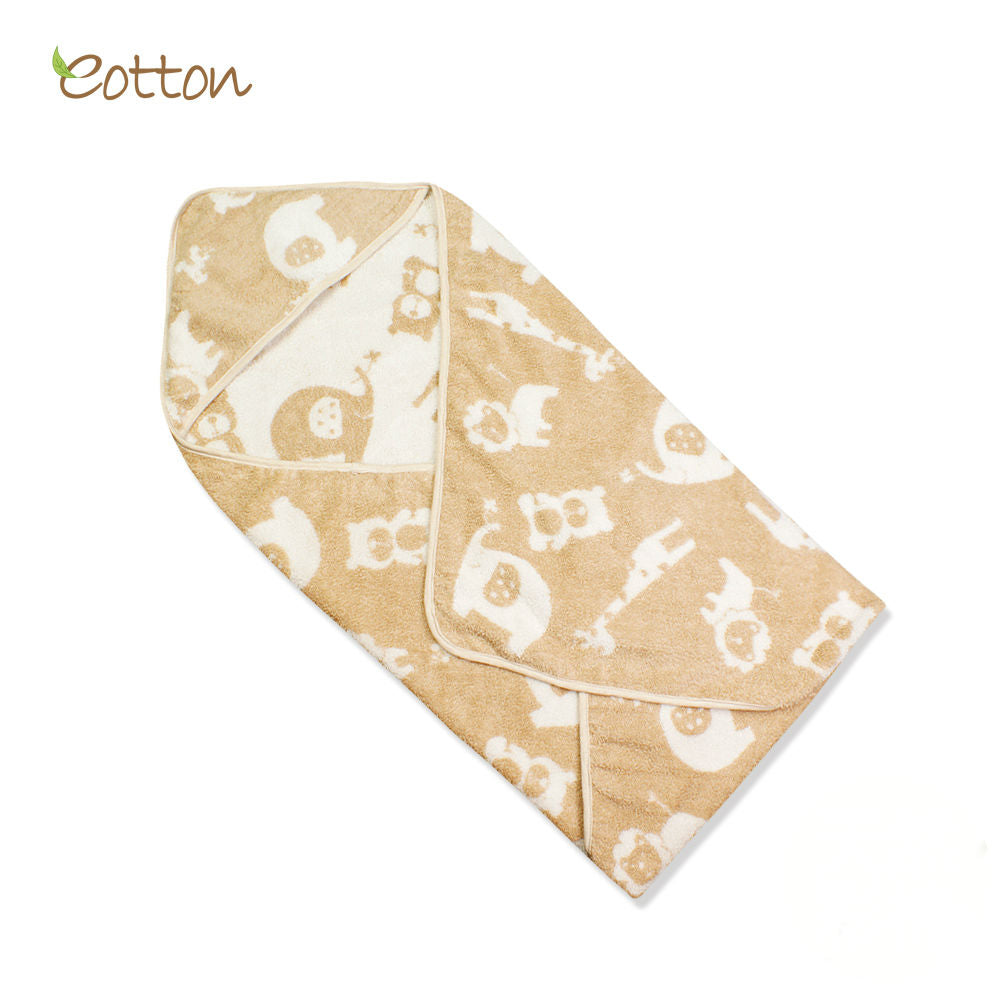 Organic Cotton Terry Hooded Towel with Jungle Pattern.