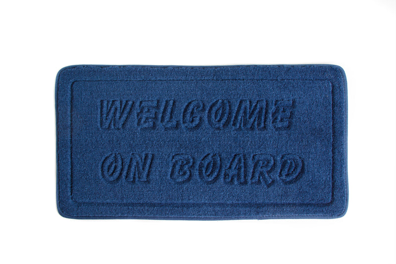 "Navy blue mat ""Welcome on Board"