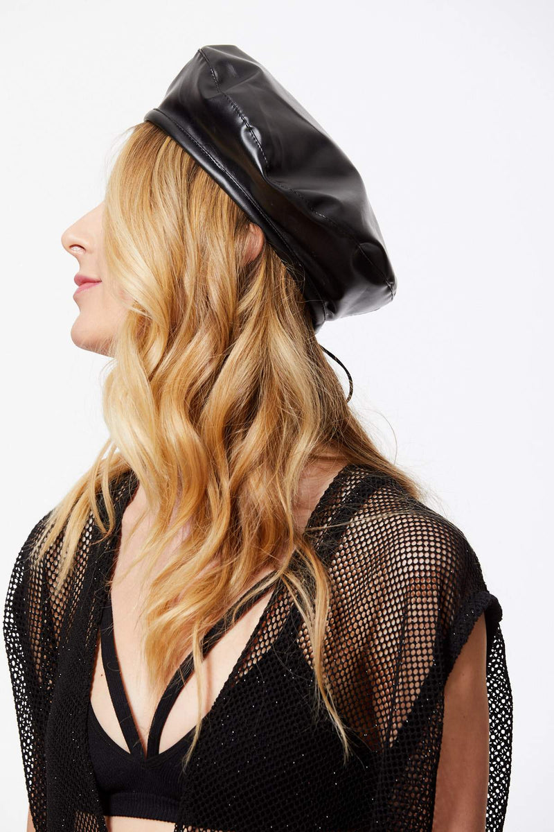 IT'S A REVOLUTION FAUX LEATHER BERET