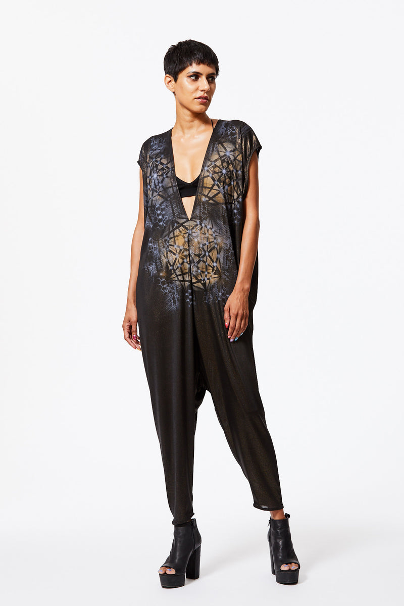 BLACK GOLD PAINTED JUMPSUIT - FRACTALS & KALEIDOSCOPES - ARTIST ORIGINAL