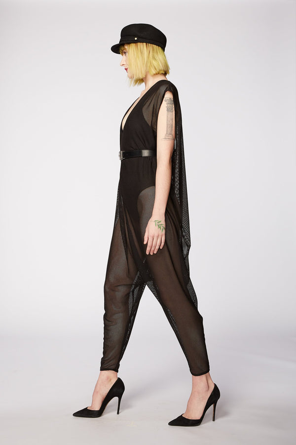 BLACK SPORT MESH JUMPSUIT