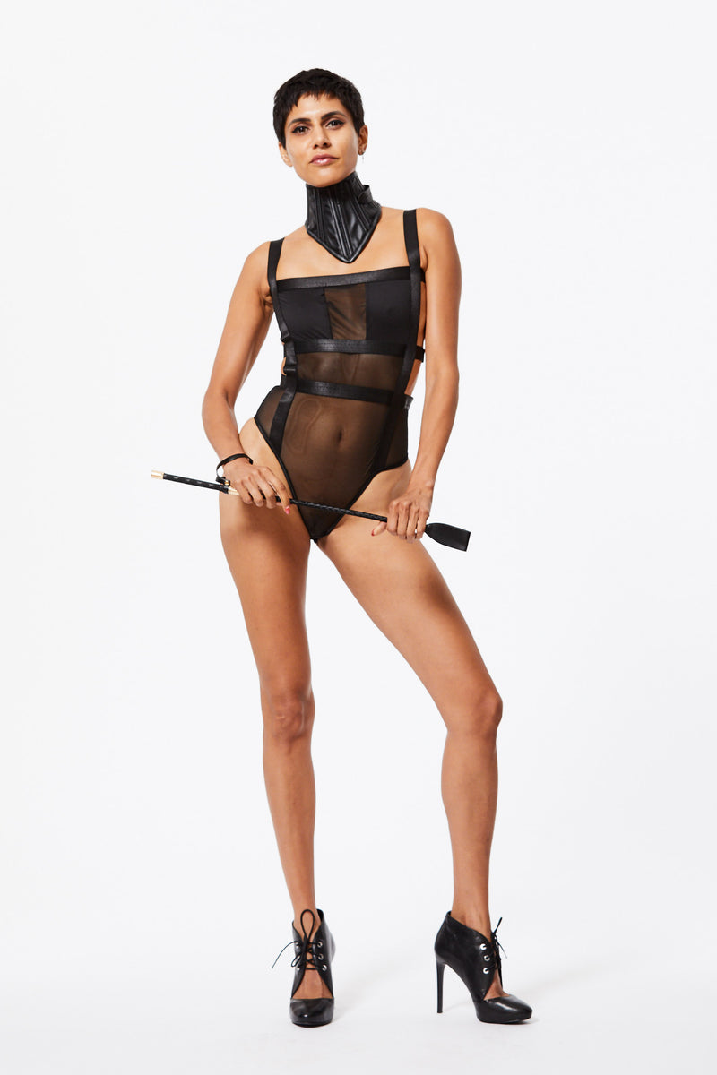 CENSORED MESH BONDAGE BODYSUIT