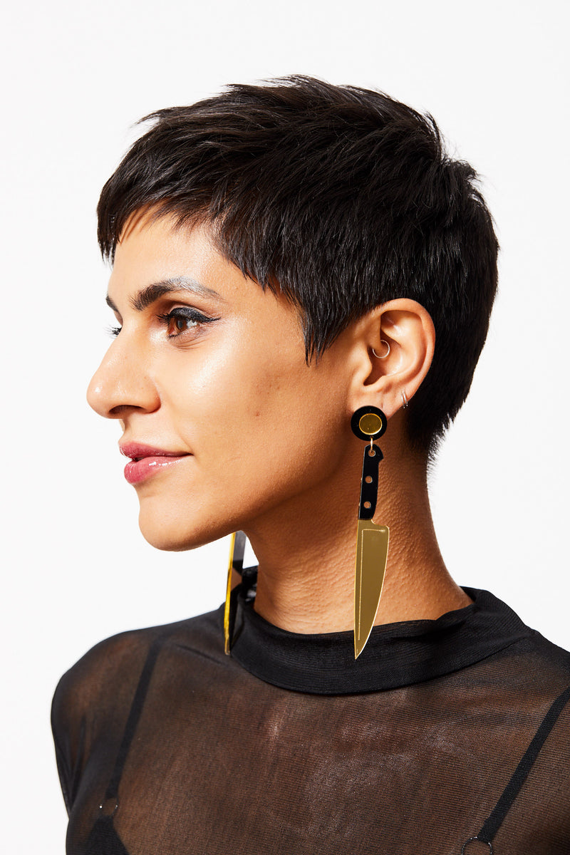 CUT A BISH GOLD ACRYLIC KITCHEN KNIFE EARRINGS
